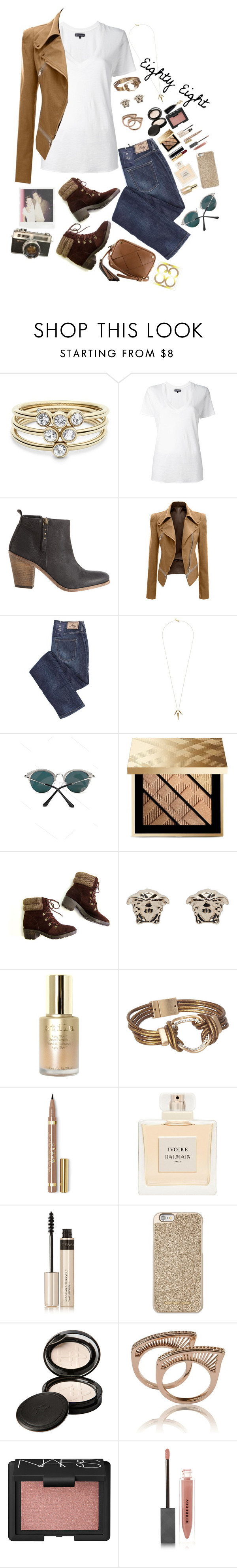 """""""~ Eighty Eight ~"""" by style-and-chic-boutique ❤ liked on Polyvore featuring FOSSIL, NSF, Hoss Intropia, Gorjana, Burberry, Versace, Stila, Balmain, By Terry and Michael Kors"""
