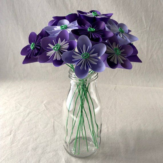 Origami Paper Flower Bouquet In Shades Of Purple Sympathy