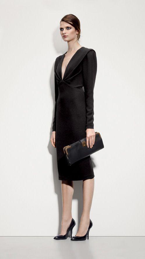 Bottega Veneta Nero Crepe Japponaise Dress, Nero Waxed Leather Gold Metal Clutch, Nero Vernis Calf Pump