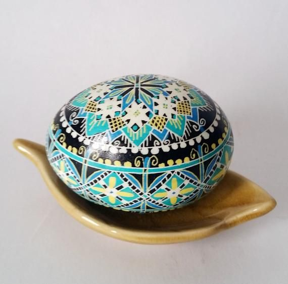 Turquoise Blue egg art ornament and gift. Chechen egg shell can be personalized with no extra ...