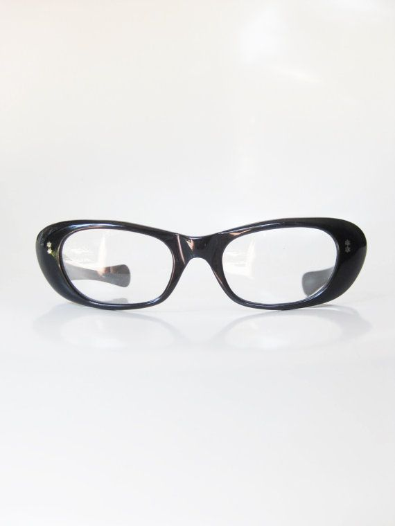 51016f259289 Vintage 1960s Cat Eye Eyeglasses Midnight Black Womens Cateye Eyeglass  Frames Glasses Obsidian Coal 60s Mad Men Mid Century Chic