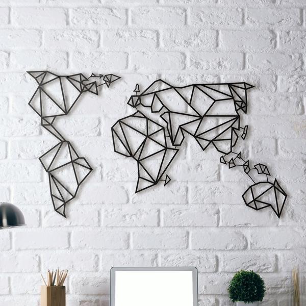 Good Metal Wall Art World Map Wanddeko