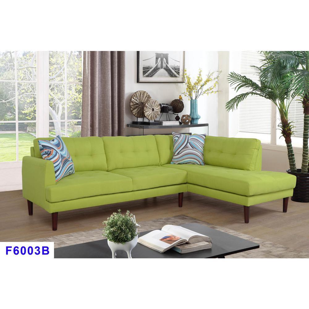 Star Home Living Apple Green Left Sectional Sofa Set (2 ...
