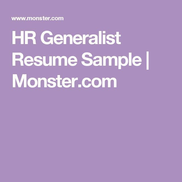 Resume  Hr Generalist Resume Sample  MonsterCom  Business