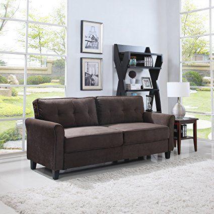 Divano Roma Furniture Clic Ultra Comfortable Brush Microfiber Fabric Living Room Sofa Brown Review