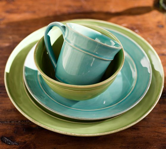 Cambria 16-Piece Dinnerware Set - Turquoise Blue | Blue pottery ...