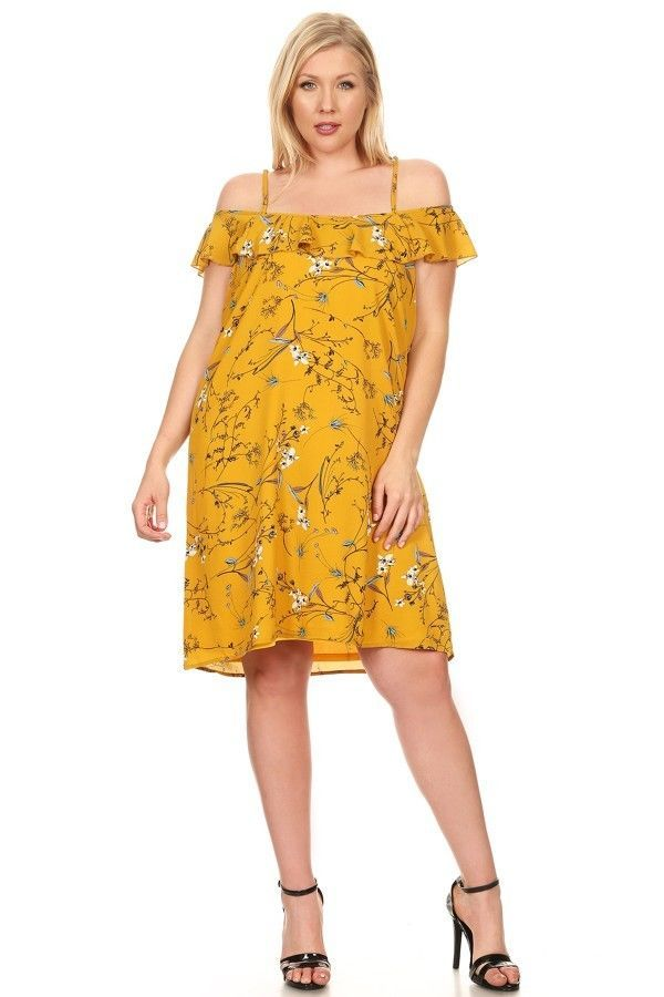 Womens Plus Size Floral Dress Flirty Off Shoulder Spring Summer