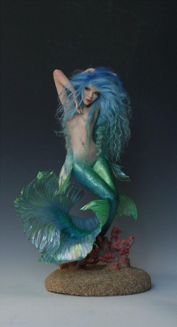 Puppen Spielzeug Unique Koi Mermaid ooak doll miniature sculpture pin up beauty fairy