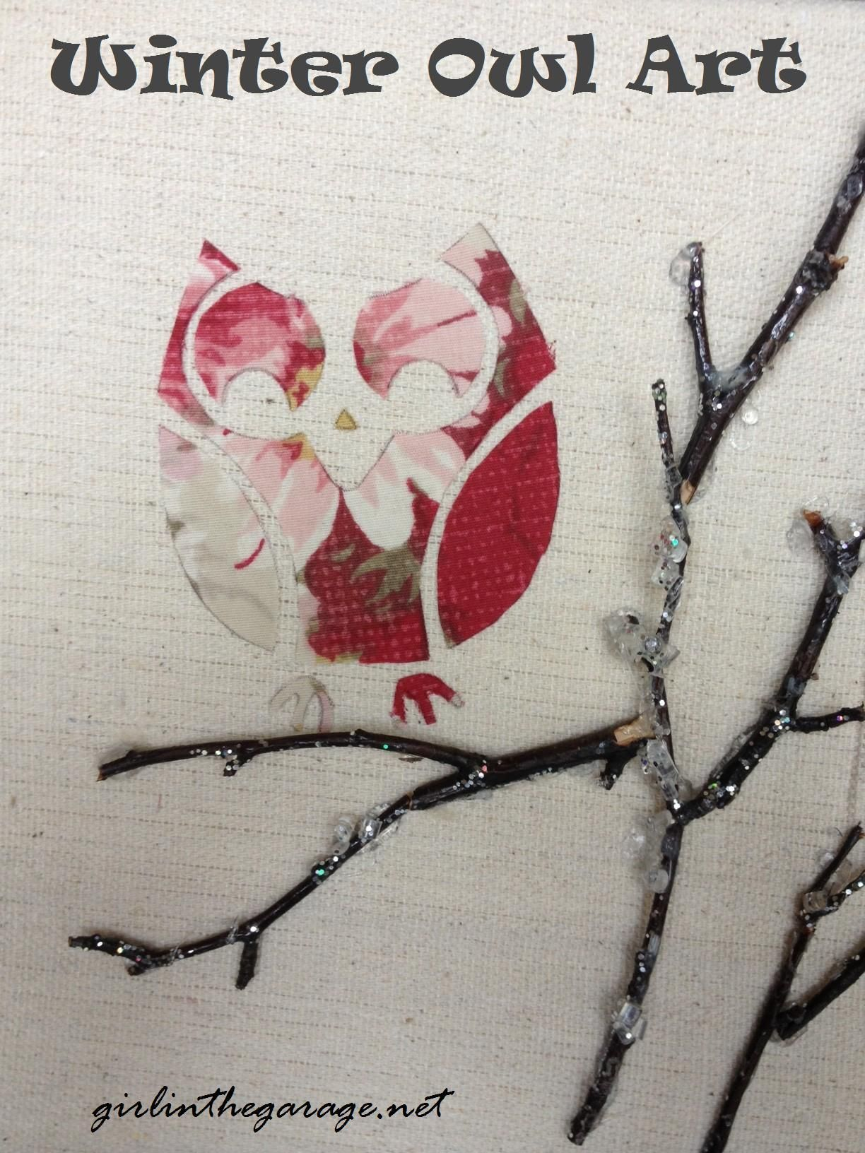 DIY: Winter Owl Art Pinned by www.myowlbarn.com