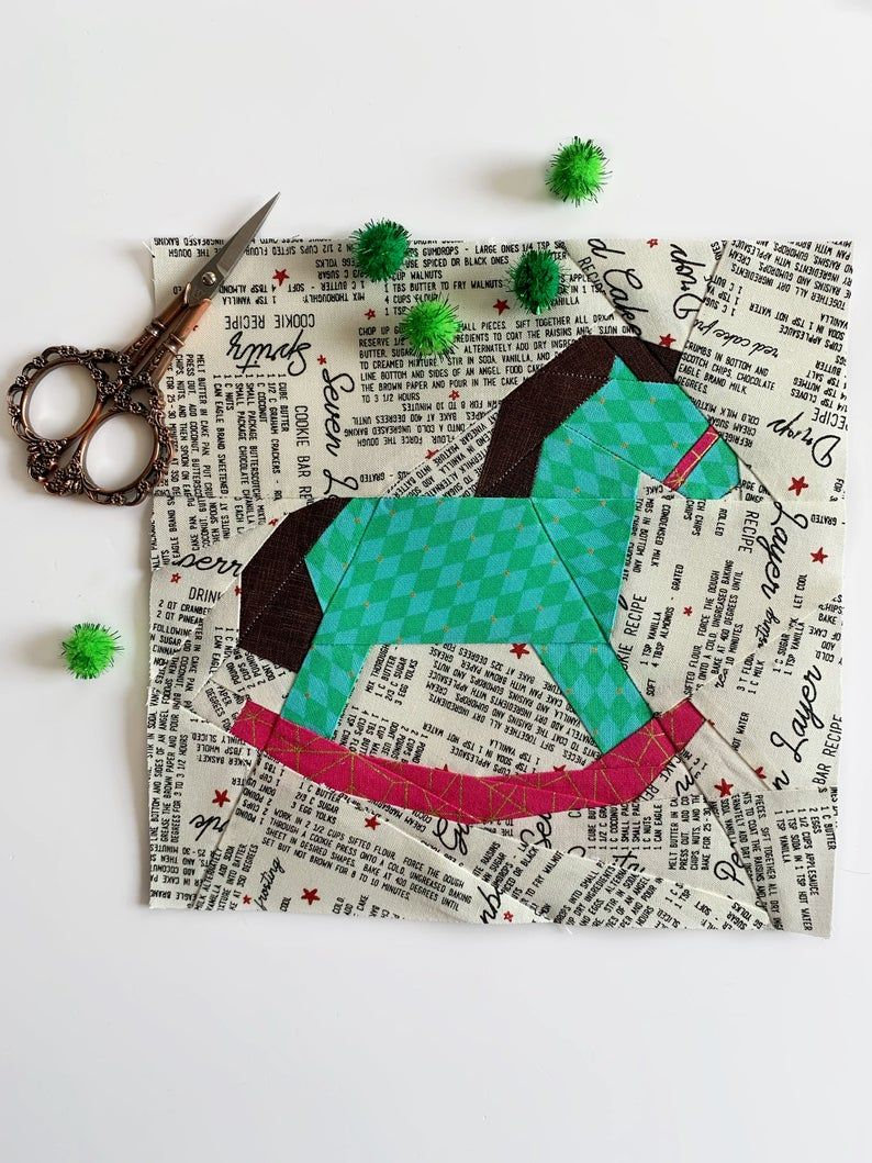Rocking Horse Quilt Block Pattern Pdf Instant Download Christmas