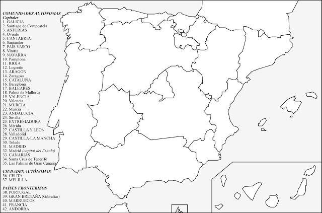 Mapa Mudo Comunidades Autonomas España Para Imprimir.Comunidades Autonomas Con Capitales Autonomicas Para