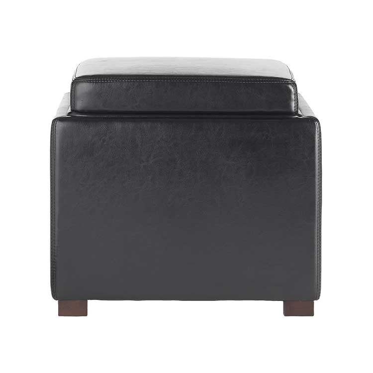 Modern Grey Leather Storage Ottoman And Tray Top Bellevue Modern