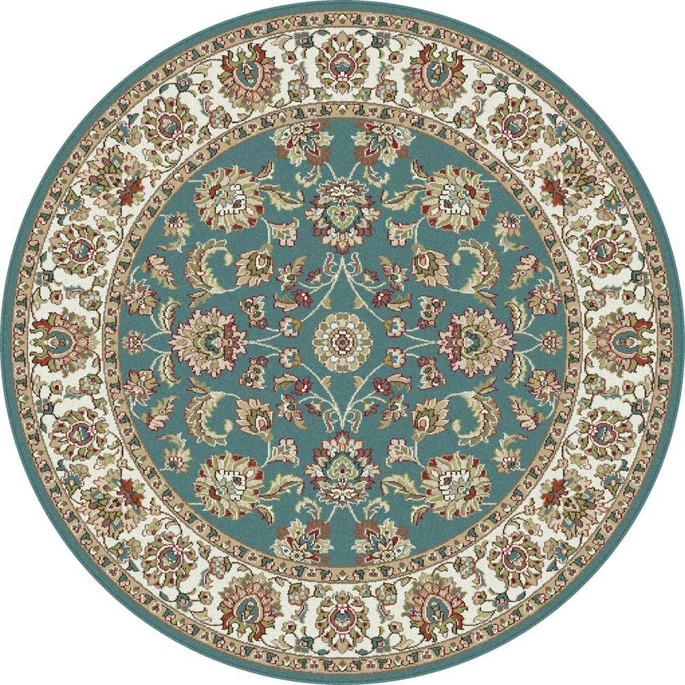 Tayse Rugs Capri Blue 5 Ft 3 In Traditional Round Area Rug