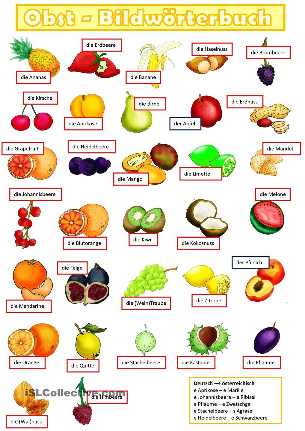 Obst 1. | Learn german, German language and Language