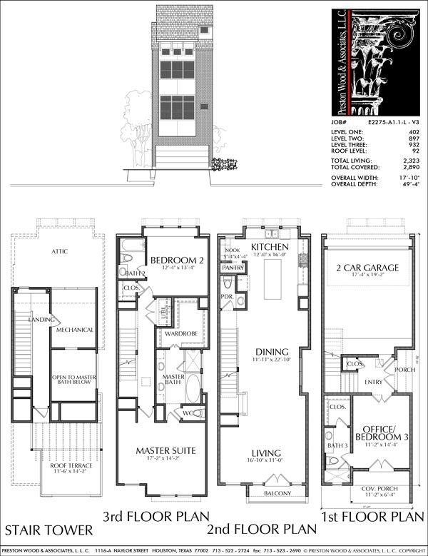 Townhouse Plan E2275 A1 1 Building Plans House Narrow House Plans Townhouse Designs