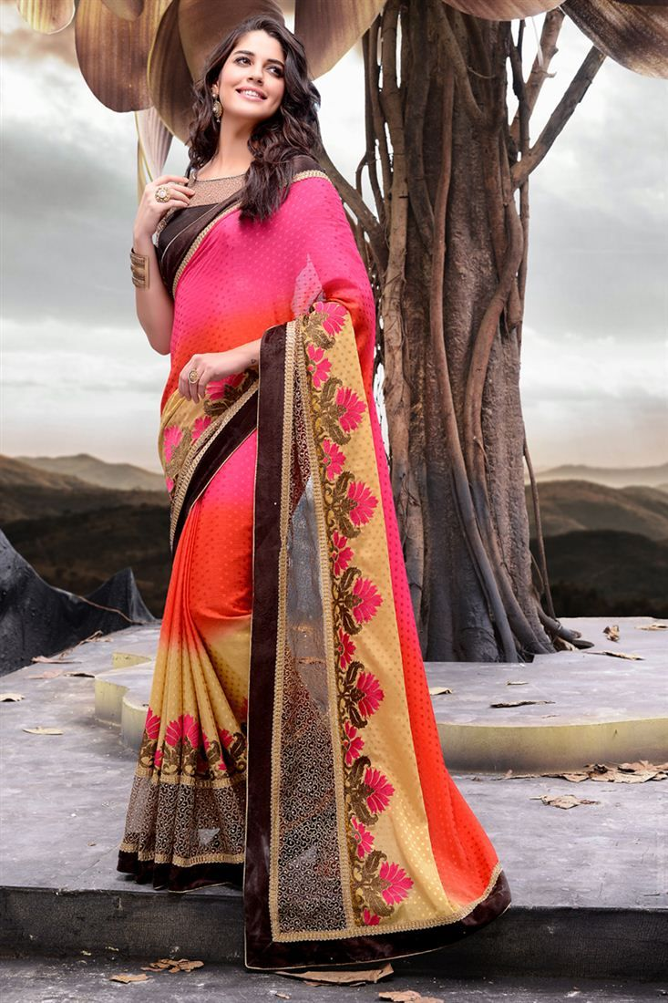 34b321831043e Pink And Orange Color Embroidered Designer Saree