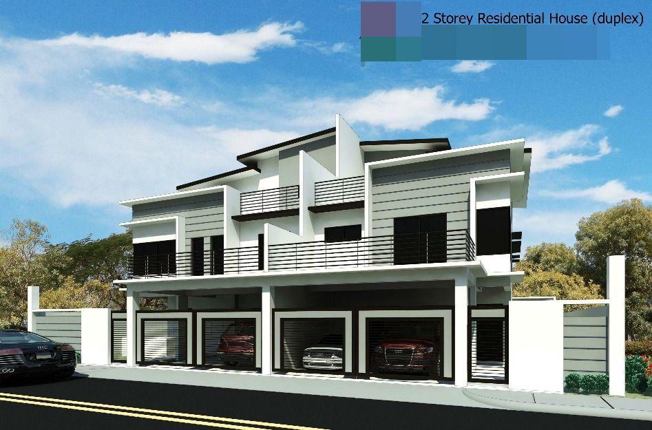 skilion roof facade garages underneath Duplex facades