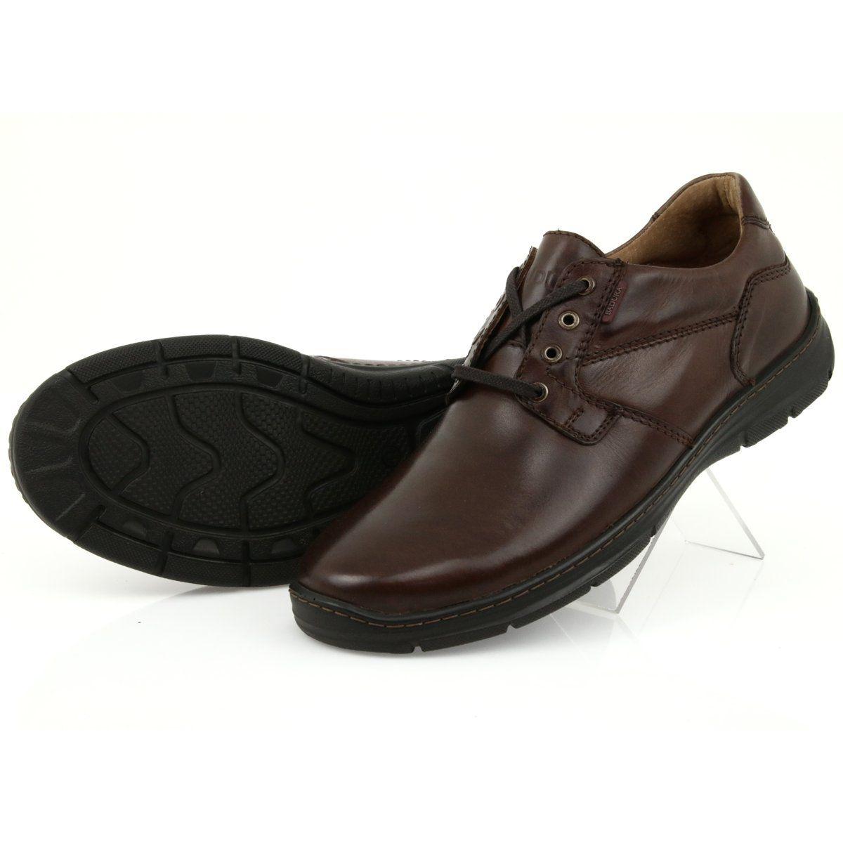 Czarne Polbuty Na Koturnie 7 9021 Brazowe Dress Shoes Men Loafers Men Dress Shoes