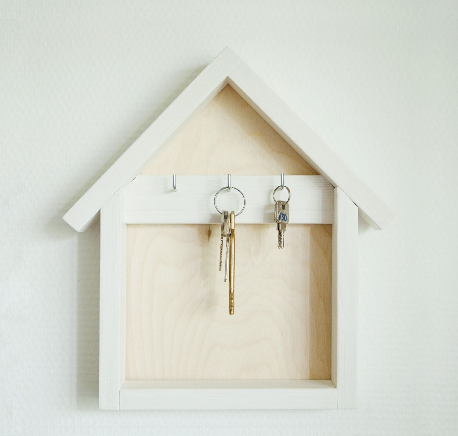 Wooden Key Holder Wood Key Organizer House Shaped Key