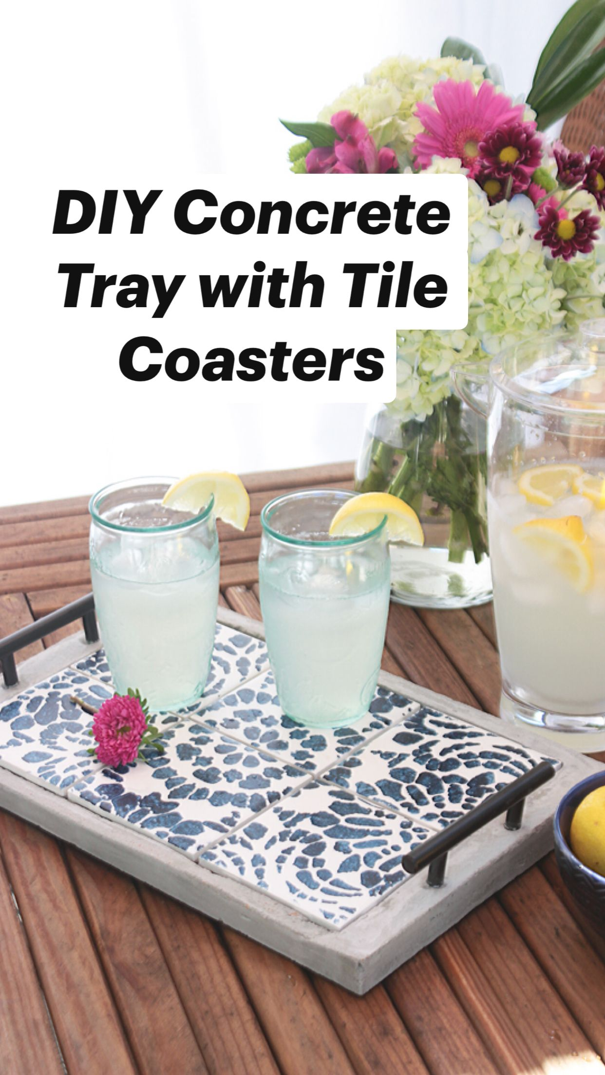DIY Concrete Tray with Tile Coasters