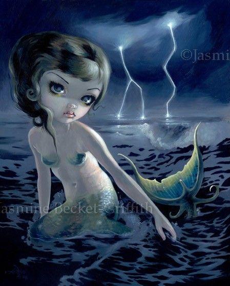 Storm Chaser mermaid gothic art ocean fairy tale art print by Jasmine Becket-Griffith BIG 12x16. $29.99, via Etsy.