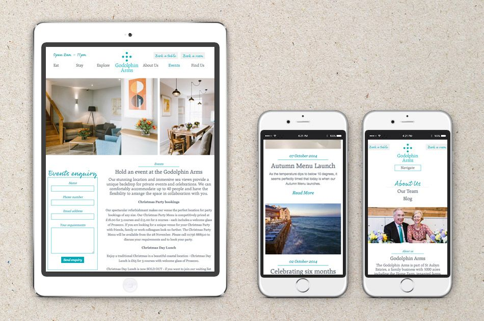 Taking a holistic approach we established new branding and website for the Godolphin Arms in Marazion, in time for the reopening of their refurbished restaurant. | Nixon Design | #Web #Digital #Responsive #Design