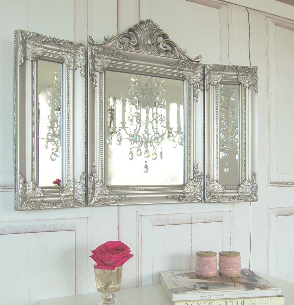 Zauberhafter Landhaus Wandspiegel Barock Silber Shabby Chic French Chic  Maison