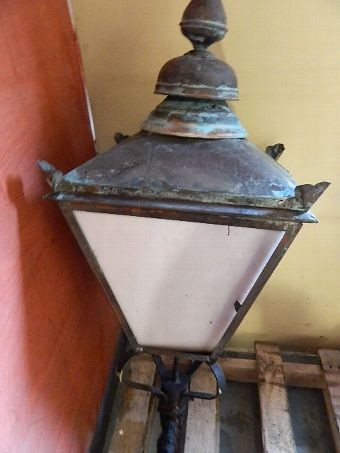 Antique Large Old Lantern / Outside Lamp Great Value On Www.antiques.co.