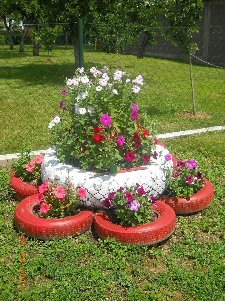 Flores coloridas JARDIN Pinterest Flores, Jardinería y Jardín - jardines con llantas