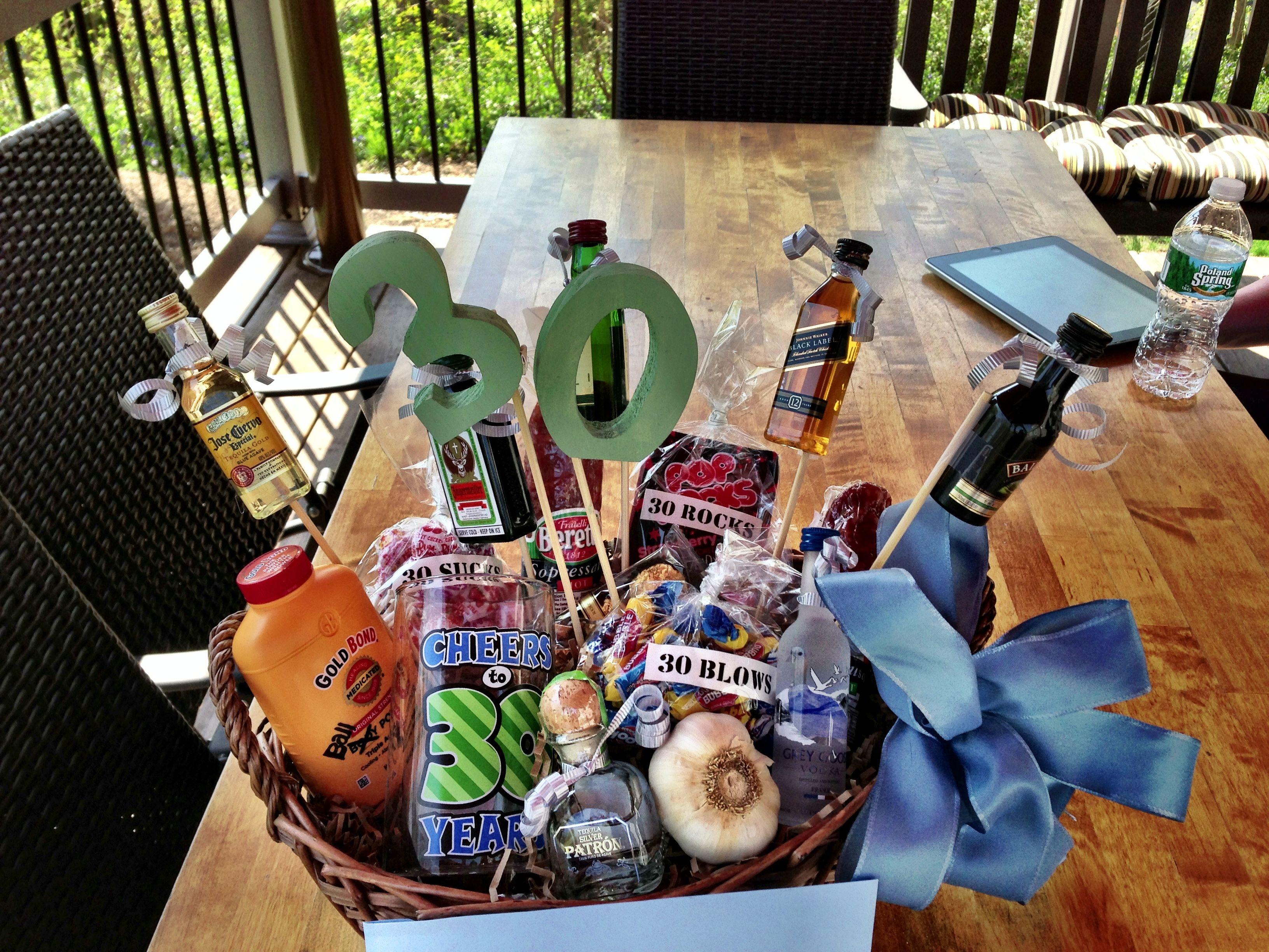 30th Birthday Gift Basket for him | Gift basket ideas ...