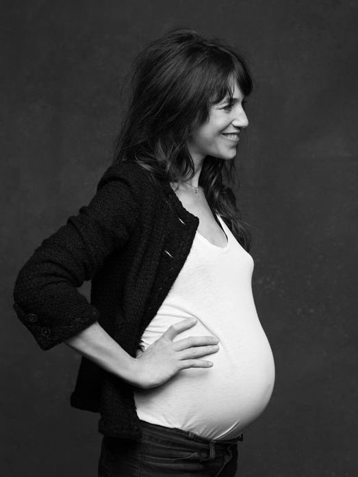 Charlotte Gainsbourg in Chanel's The Little Black Jacket, photographed by Karl Lagerfeld #pregnant #classic #motherhood