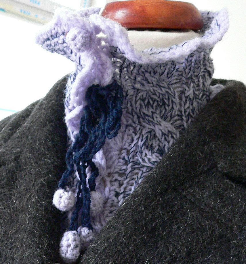 Hand knitted pure merino wool scarf / neck warmer blue by dalianavi on Etsy