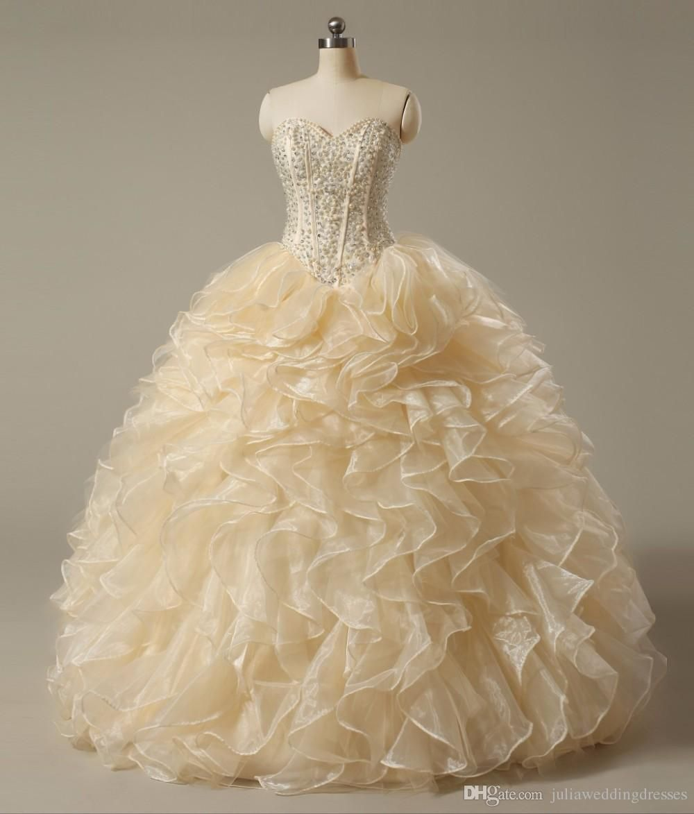 new sexy champagne quinceanera dresses sweetheart crystals ball