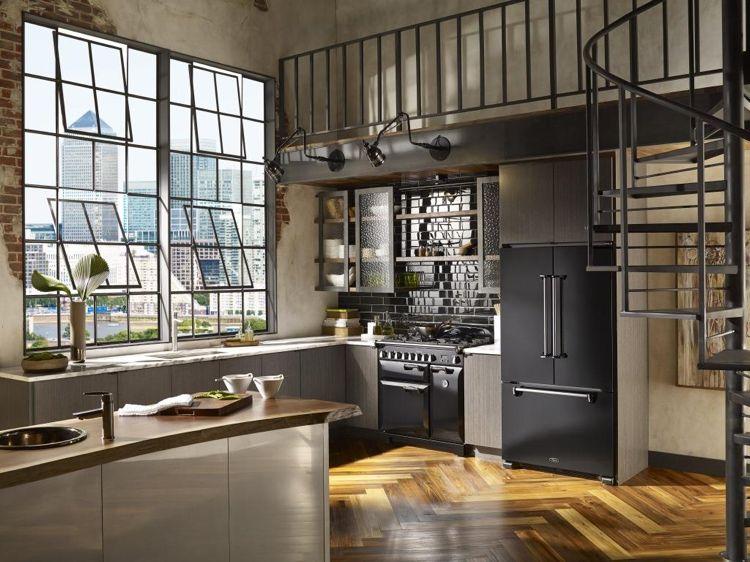 neue Küchenideen moderner industrial look schwarze Metrofliesen Wand ...
