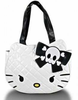 ab162a7f8582 Loungefly Hello Kitty Tote Bag White Skull Purse NEW