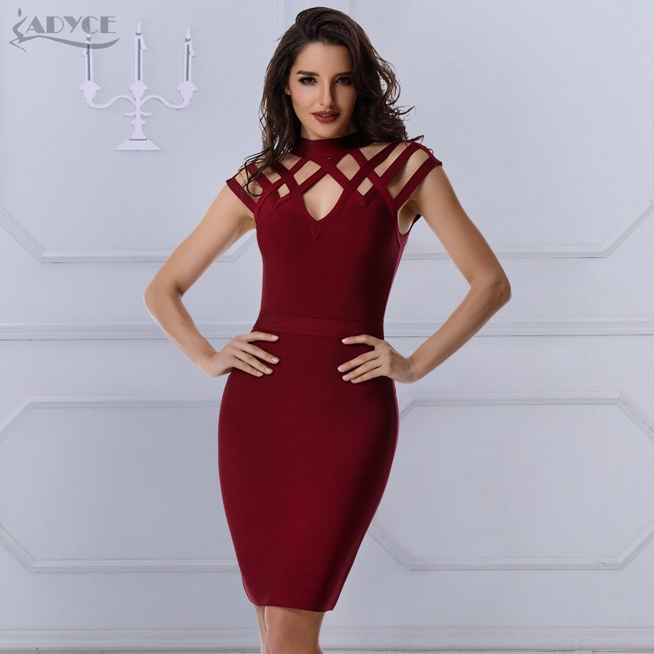 f5d077f131681 ADYCE Elegant Runway Dress Women Evening Bandage Dress 2018 Wine Red ...