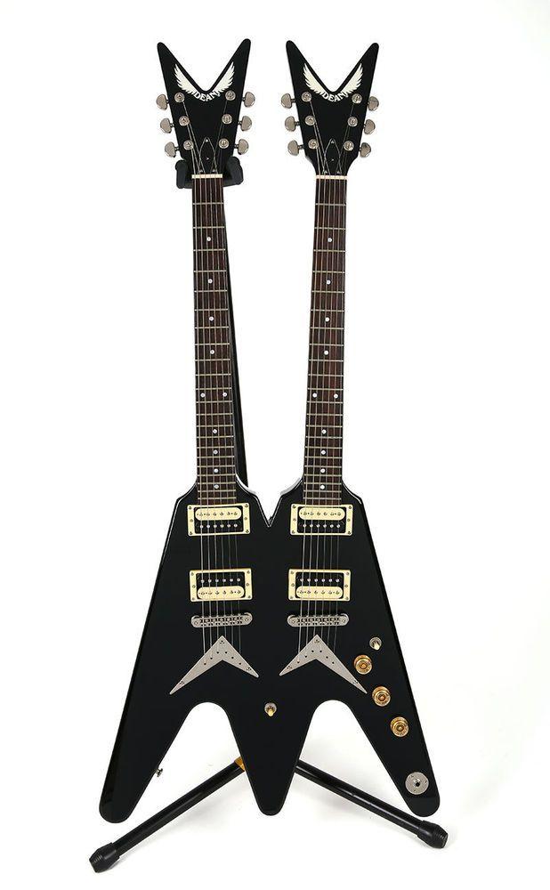 dean v series double neck black electric guitar two twin neck unique rh pinterest com