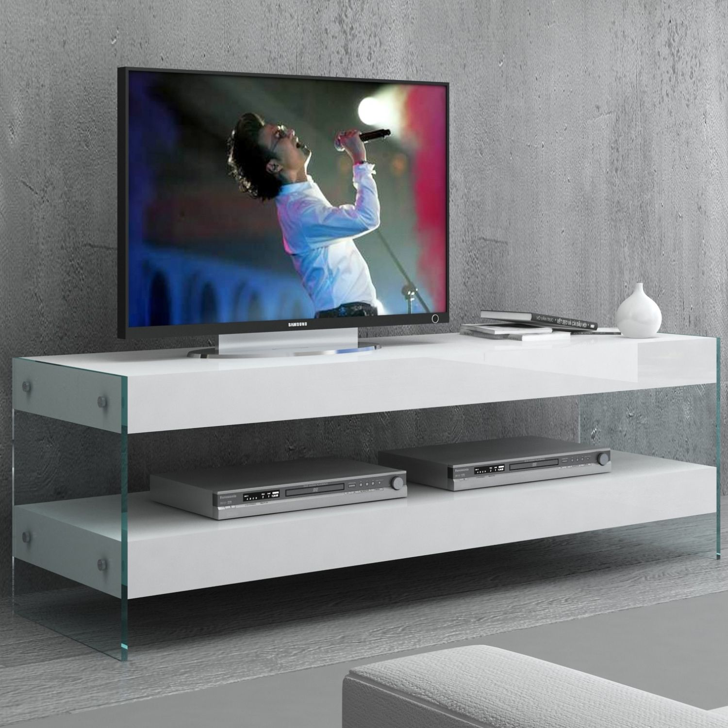 J And M Furniture 179601 Mtv Cloud 59 Tv Stand High Gloss White Tempered Glass Tv Stand High Gloss Tv Stand High Gloss White J and m tv stand