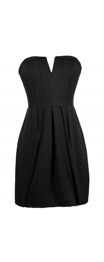 Party Time Strapless V Dip Dress in Black www.lilyboutique.com