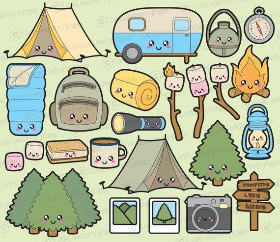 Camping kawaii. Premium vector clipart