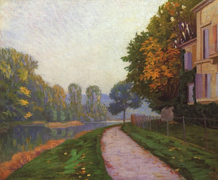 Tableaux sur toile, reproduction de Caillebotte, Riverbank In Morning Haze, 65x46cm