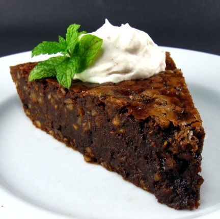 Chocolate and Hazelnut Pie with Vanilla Cream ~ This pie is chocolate, rich and decadent. It's also easy to make.