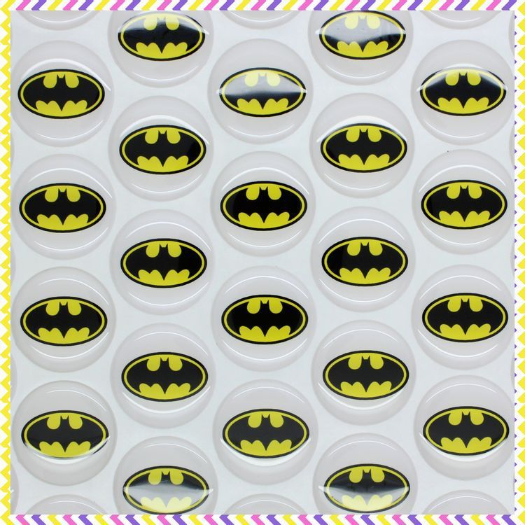 1 free shipping batman 3d dome round clear epoxy resin sticker for bottle cap