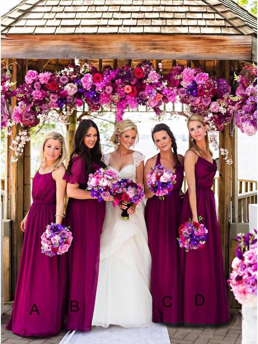 Bright pink dress for wedding guest  Long Purple Chiffon FloorLength Wedding Guest Dresses Bridesmaid