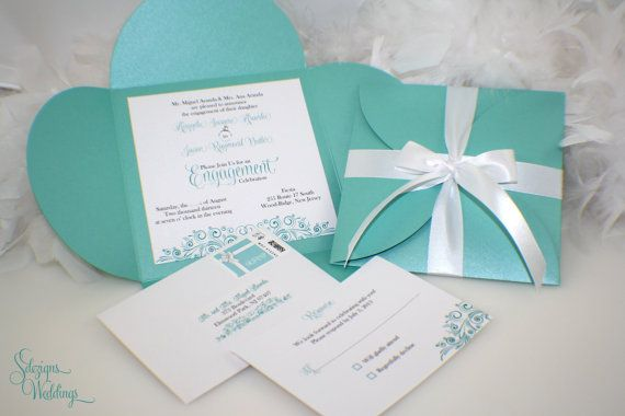Tiffany Blue Engagement Party Invitations by SDezigns – Tiffany Blue Birthday Invitations