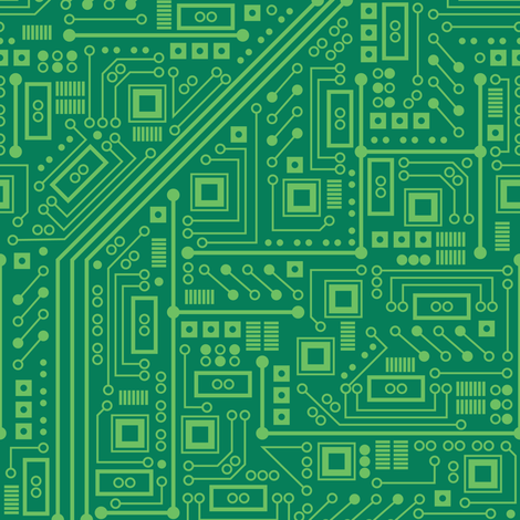 Robot Circuit Board (Green) fabric by robyriker on