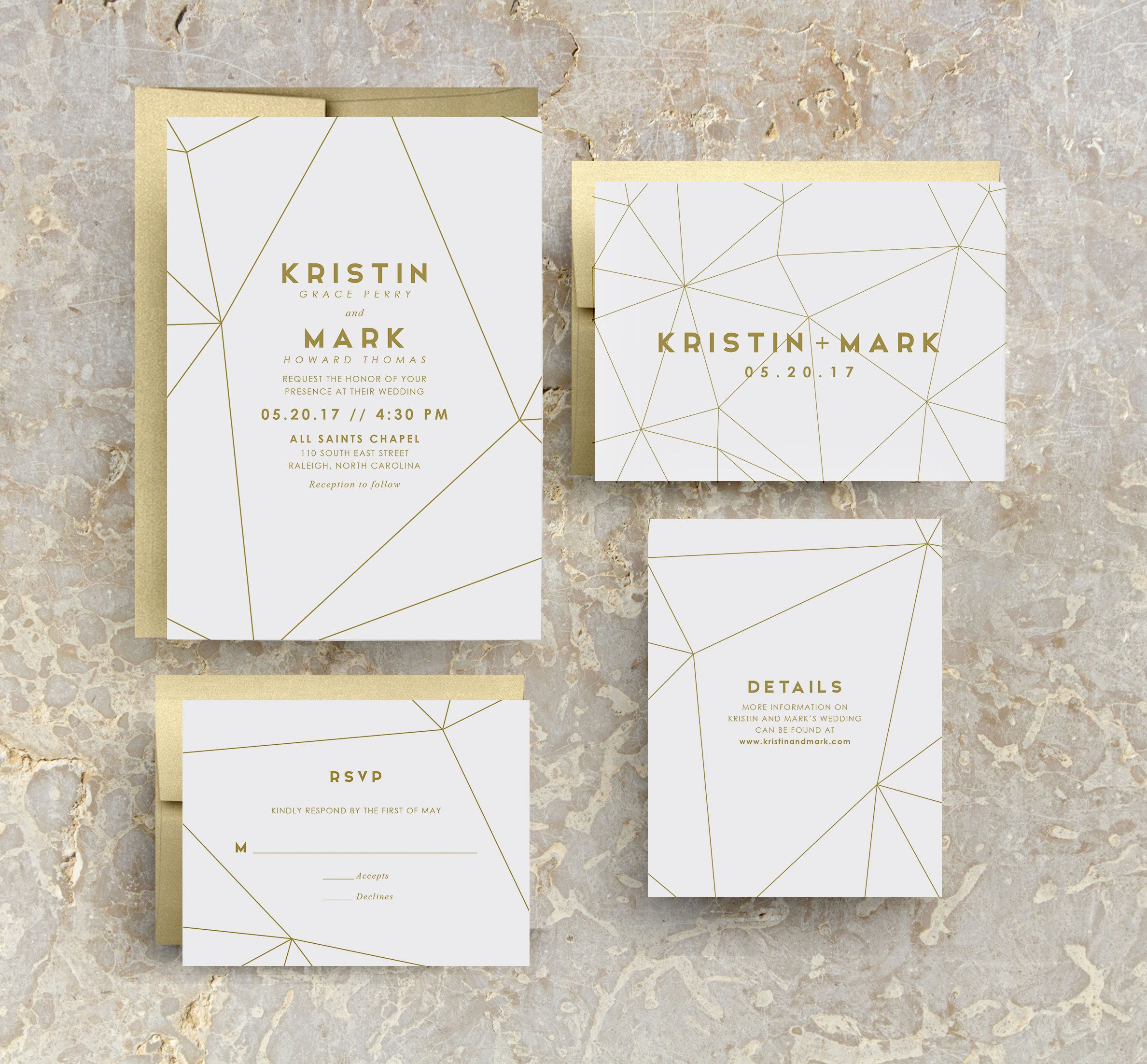 Modern Geometric Wedding Invitations In Gold Foil Print Or Gold Standard Ink For Gold Theme Wedding Modern Wedding Or Sophisticated Event In 2021 Geometric Wedding Invitation Geometric Invitations Printing Wedding Invitations
