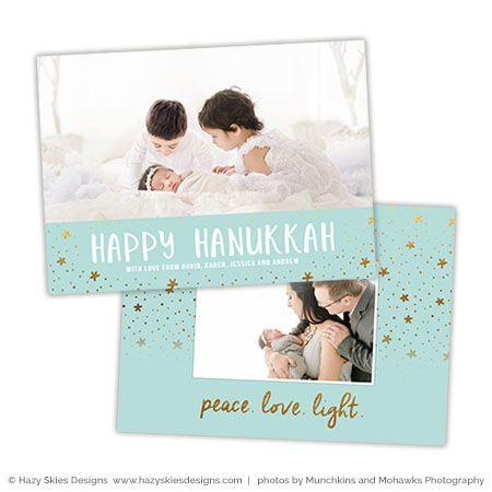 Hanukkah Photoshop Card Template Peace Love Light