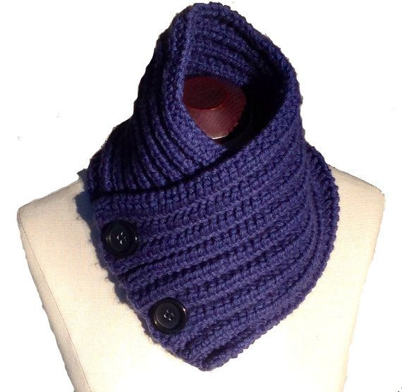 Blue Scarf with Buttons  The Laurel by EterKnity Creations on Etsy