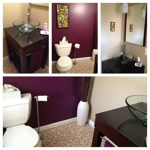 "Sherwin Williams Mink Bathroom: New Half-bath. Paint = Sherwin Williams ""Mature Grape"" And ""Basket Beige"""